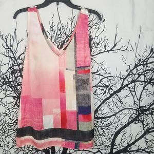 WHBM | Pink Sleeveless Block Colored Blouse  large